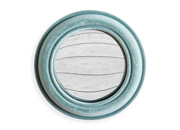 Quirky Flocked Grey/Blue Small Convex Mirror