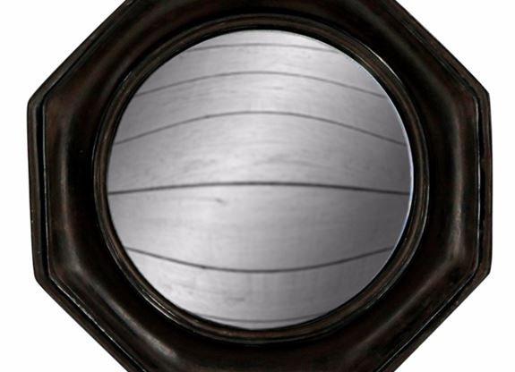 Black Octagonal Convex Mirror