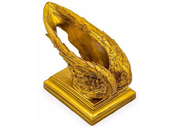 Antiqued Gold Winged Wine Bottle Holder