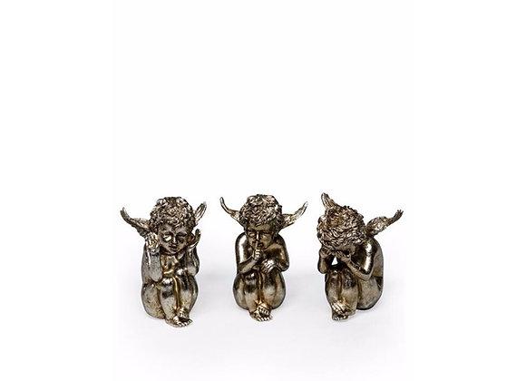 Set of Three Metal Plated Sitting Cherubs