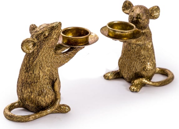 Pair of Antiqued Gold Mouse Candle Holder
