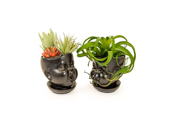 PAIR Of Baby Face Pot/Vase (Black)