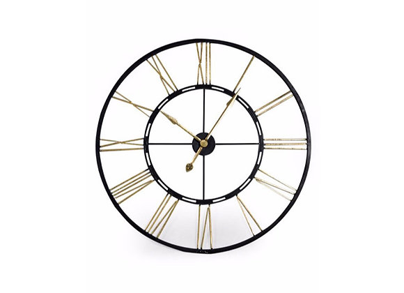 Large Black and Gold/Silver Skeleton Wall Clock