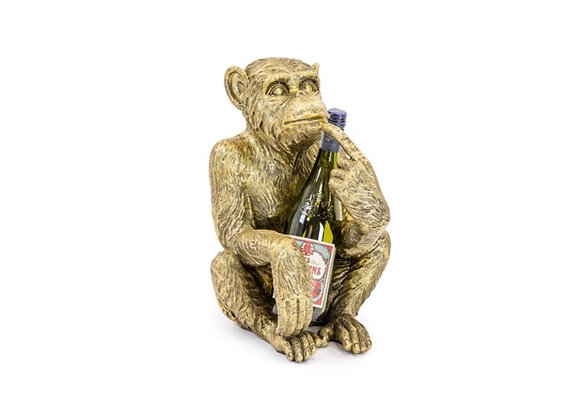 Quirky Wise Monkey Wine Bottle Holder (Gold)