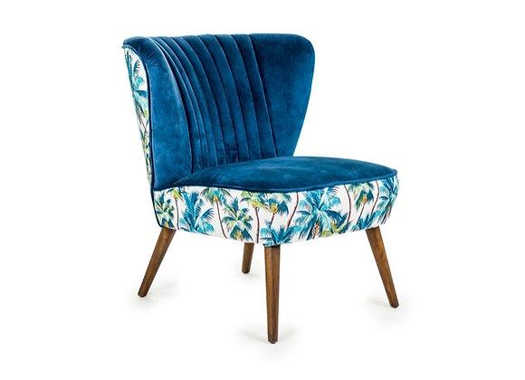 Funky Tropical Blue Velvet Winged Chair