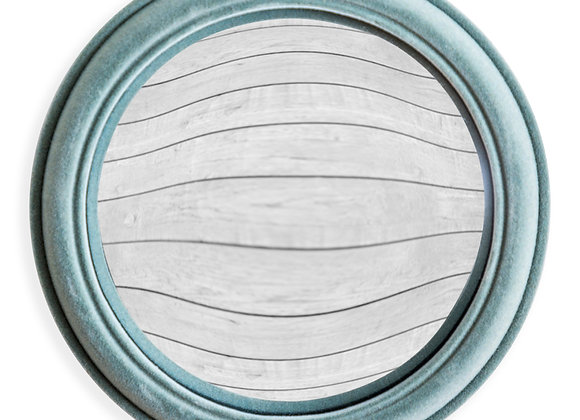 Quirky Flocked Grey/Blue Large Convex Mirror
