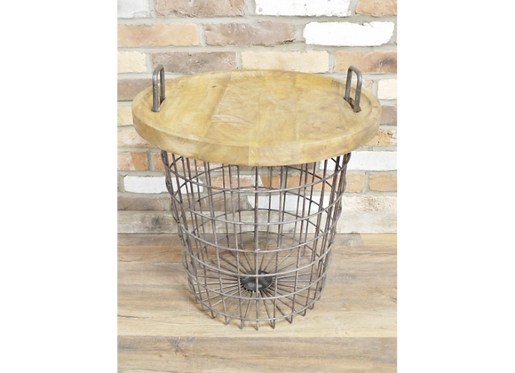 Quirky Basket Coffee Table With Wooden Top