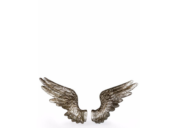 Pair Of Funky Rustic Antiqued Silver Wings Decoration