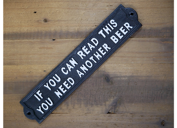 """Black Cast Iron Humour """"Another Beer"""" Sign"""