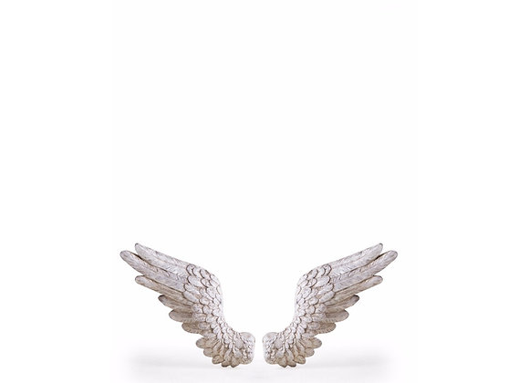 Pair Of Funky Rustic Antiqued White Wing Decoration