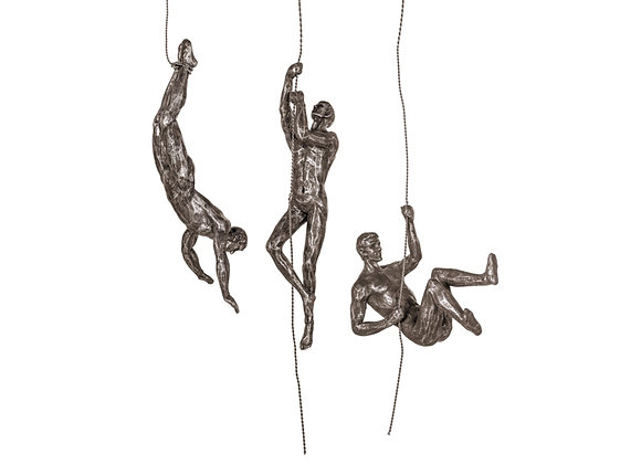 Copper Effect Abseiling Men Wall Figures