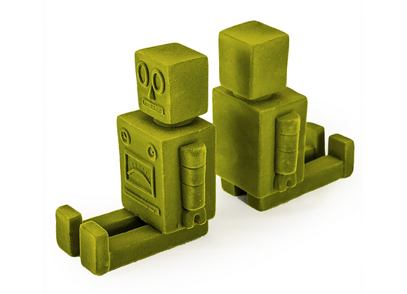 Funky Flock Green Robot Bookends (Pair)