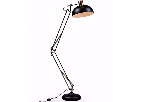 Striking Large Black and Copper Flex Floor Lamp With Black Wire