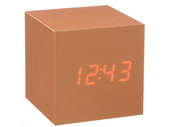 Copper Cube Click Clock (Red LED)