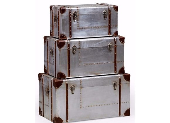 Funky Set Of Three Silver Travel Trunk Drawers