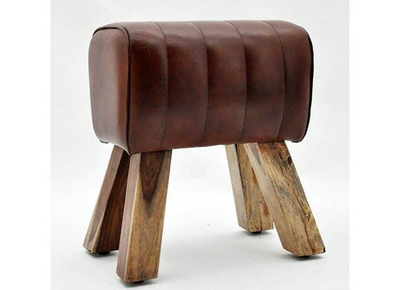 Brown Leather Pommel Horse Style Foot Stool