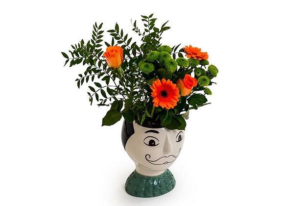 Mr. Moustache Ceramic Vase