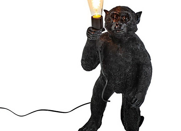 Charming Black Standing Monkey Lamp