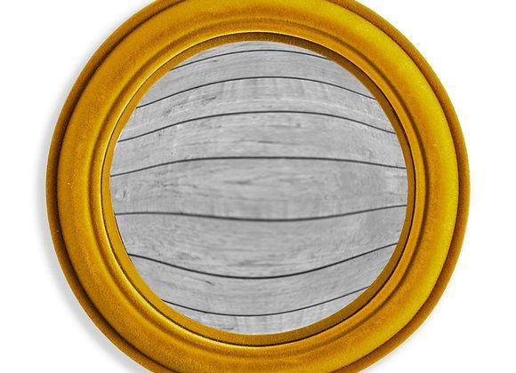 Funky Flocked Mustard Medium Convex Mirror