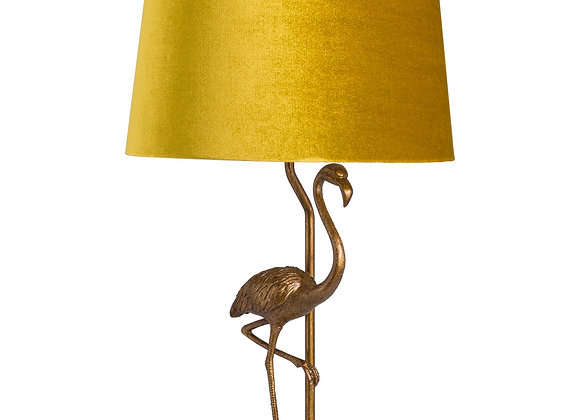 Quirky Flamingo Lamp With Mustard Velvet Shade