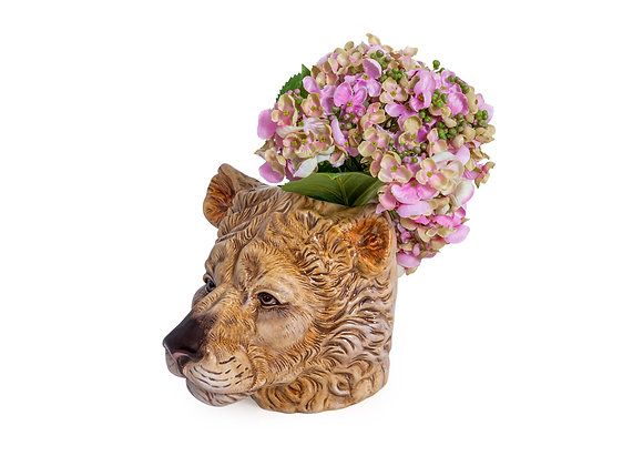 Quirky Ceramic Lioness Head Storage Jar / Vase