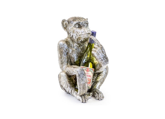 Quirky Wise Monkey Wine Bottle Holder (Silver)