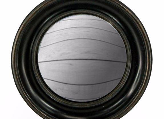 Large Black Deep Framed Round Convex Mirror