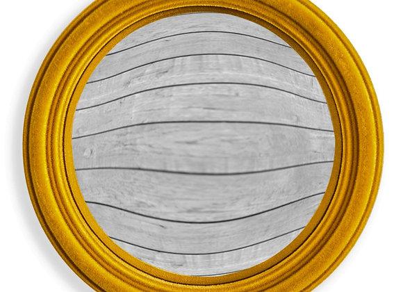 Funky Flocked Mustard Thin Framed Small Convex Mirror