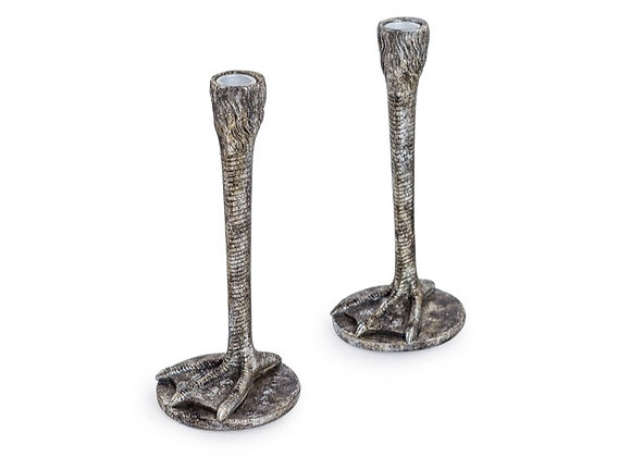 Pair Of Bird Leg Candle Sticks (Silver)