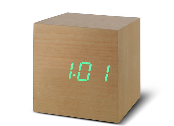 Beech Cube Click Clock (Green LED)