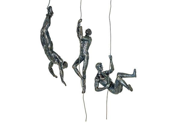 Bronze Effect Abseiling Men Wall Figures