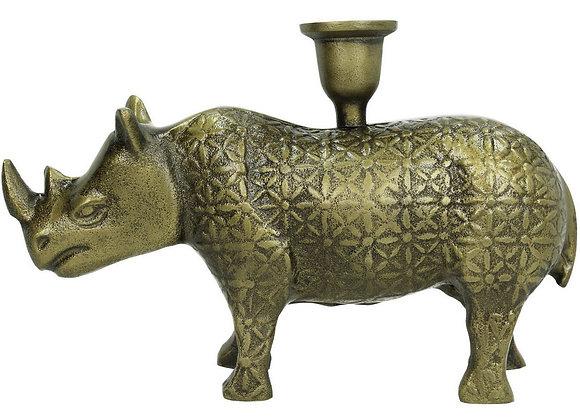 Antique Style Brass Aluminium Rhino Candle Holder