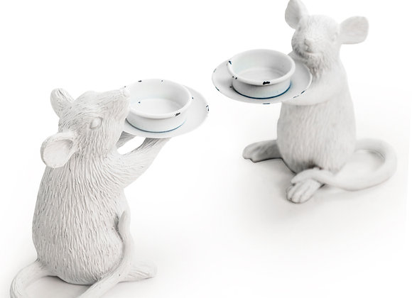 Pair Of White Mouse Candle Holder