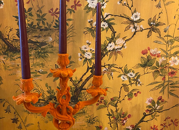 Stunning Flocked Orange Candelabra