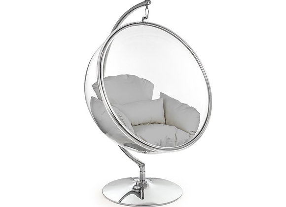 Fun Retro Style Bubble Chair On Steel Base (Grey)