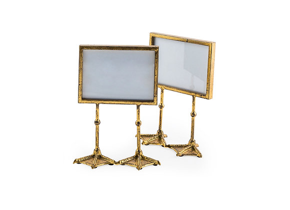 Pair of Funky Antiqued Gold Bird Feet Photo Frames