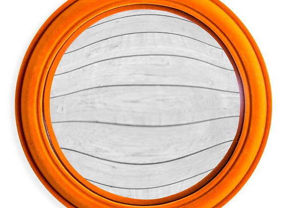 Quirky Flocked Bright Orange Large Convex Mirror