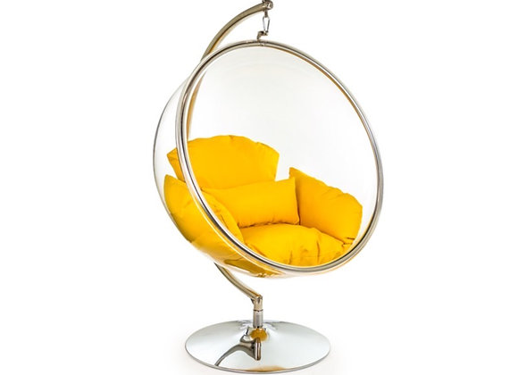 Funky Retro Style Bubble Chair On Steel Base (Yellow)