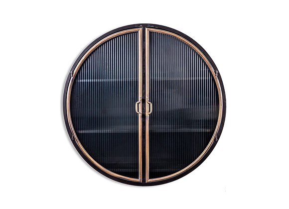 Black and Antique Gold Round Metal Wall Cabinet