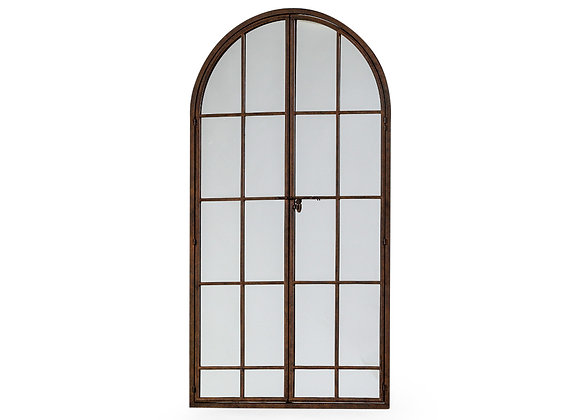 Large Antiqued Iron Arched Window Mirror