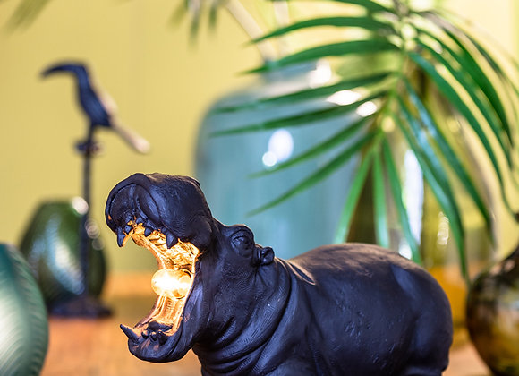 Fabulous Funky Black Hippo Table Lamp