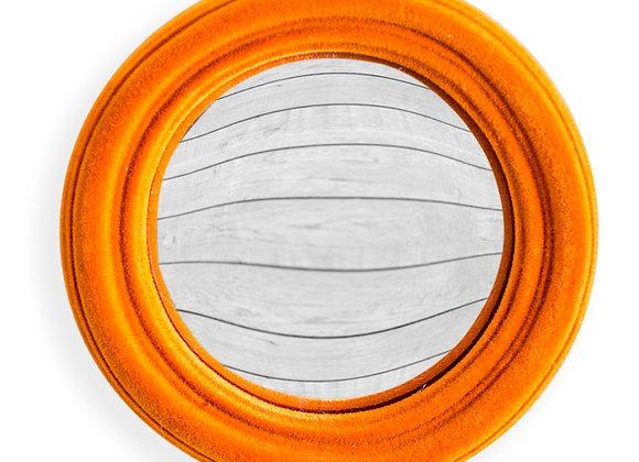 Funky Flocked Bright Orange Thin Framed Extra Small Convex Mirror
