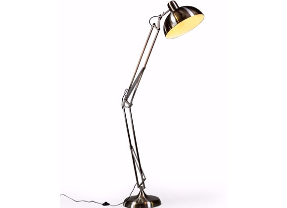 Funky Large Brushed Steel Flex Floor Lamp With Black Wire
