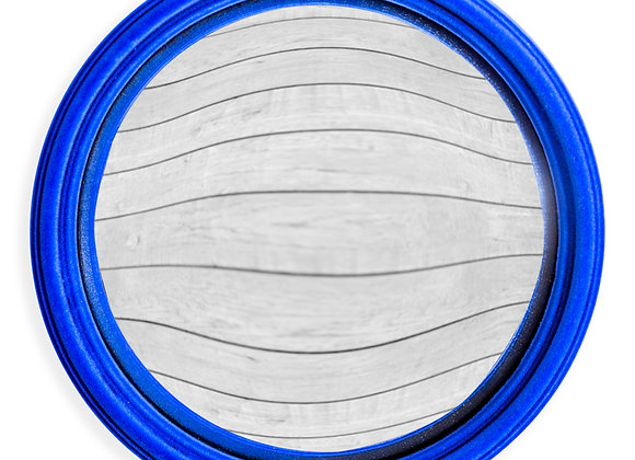 Quirky Flocked Cobalt Blue Thin Framed Large Convex Mirror