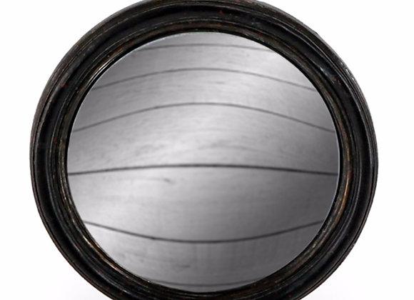 Black Thin Framed Round Convex Mirror