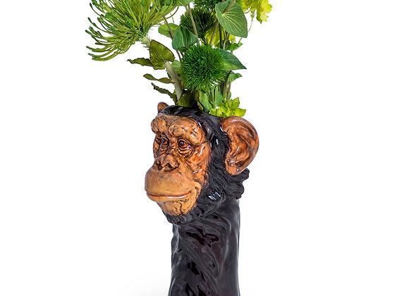 Charming Ceramic Chimp Head Storage Jar / Vase