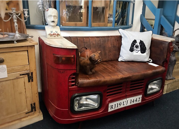Upcycled Genuine Lorry Leather Sofa