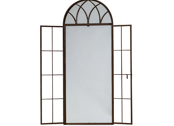 Tall Antiqued Iron Arched Window Mirror