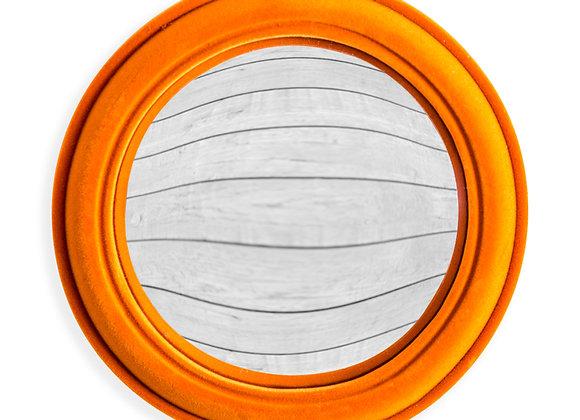 Quirky Flocked Bright Orange Medium Convex Mirror