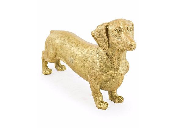 Gold Dachshund Dog Figure
